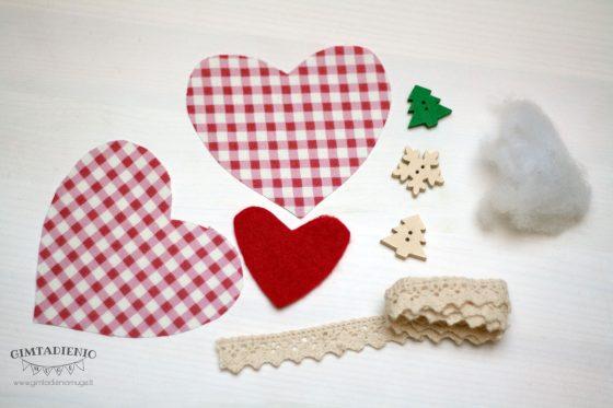 siūta kalėdinė širdelė