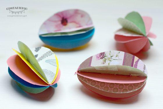 velykinės dekoracijos popieriniai 3 d kiaušiniai