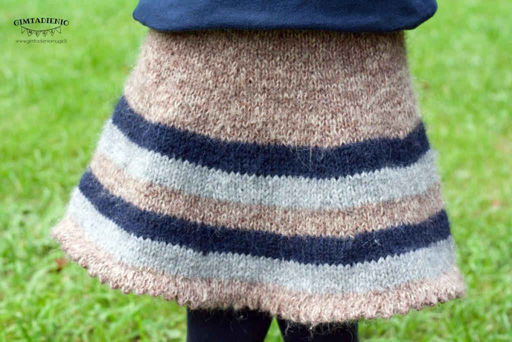 šiltas megztas sijonas vaikui žiemą