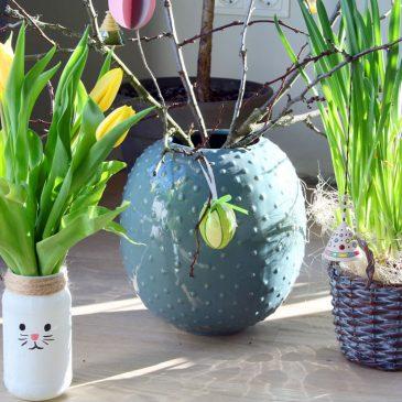 Gėlių vazelė vaikams – kiškis iš stiklainio