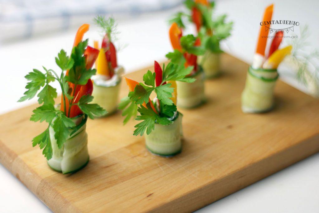 daržovės vaiko gimtadieniui vieno kąsnio užkandžiai