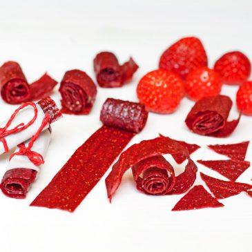 sveiki saldainiai juostelės iš braškių ar kitų vaisių