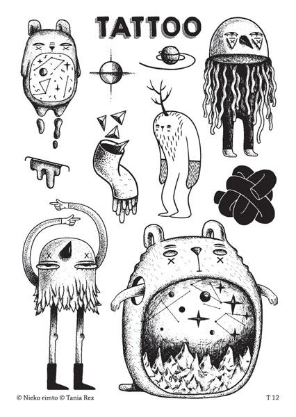 T.12 Laikinos tatuiruotės su Tanios Rex piešiniais