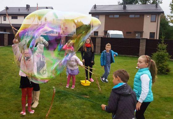 milžiniški muilo burbulai šventei