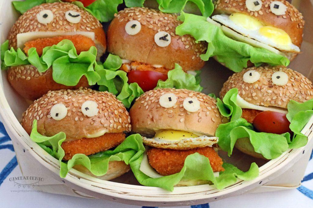 uzkandziai vaiko gimtadieniui mini burgeriai