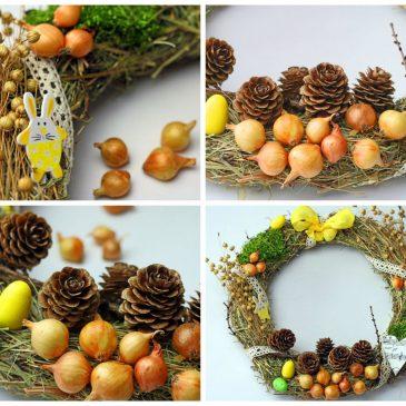 velykų vainikas iš šieno paprastai pagaminama pavasario dekoracija