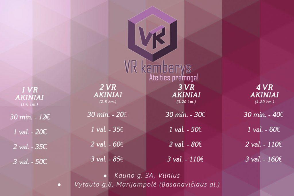virtuali realybė kainos